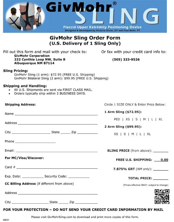 Printable Order Form Image - 08/21