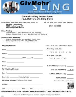 GivMohr Sling Order Form